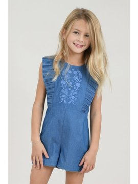 Mini Molly Embroidered Denim Romper