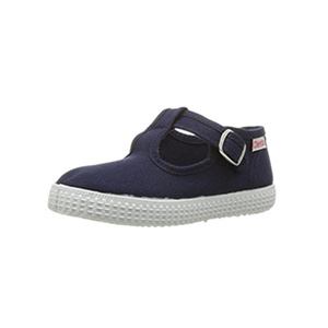 Cienta Navy Canvas T-Strap
