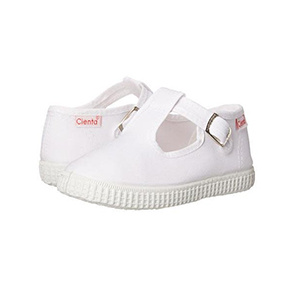 Cienta White Canvas T-Strap