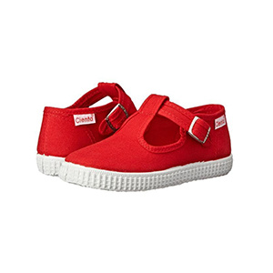 Cienta Red Canvas T-Strap