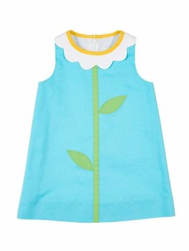 Florence Eiseman Turquoise Flower Collar Dress