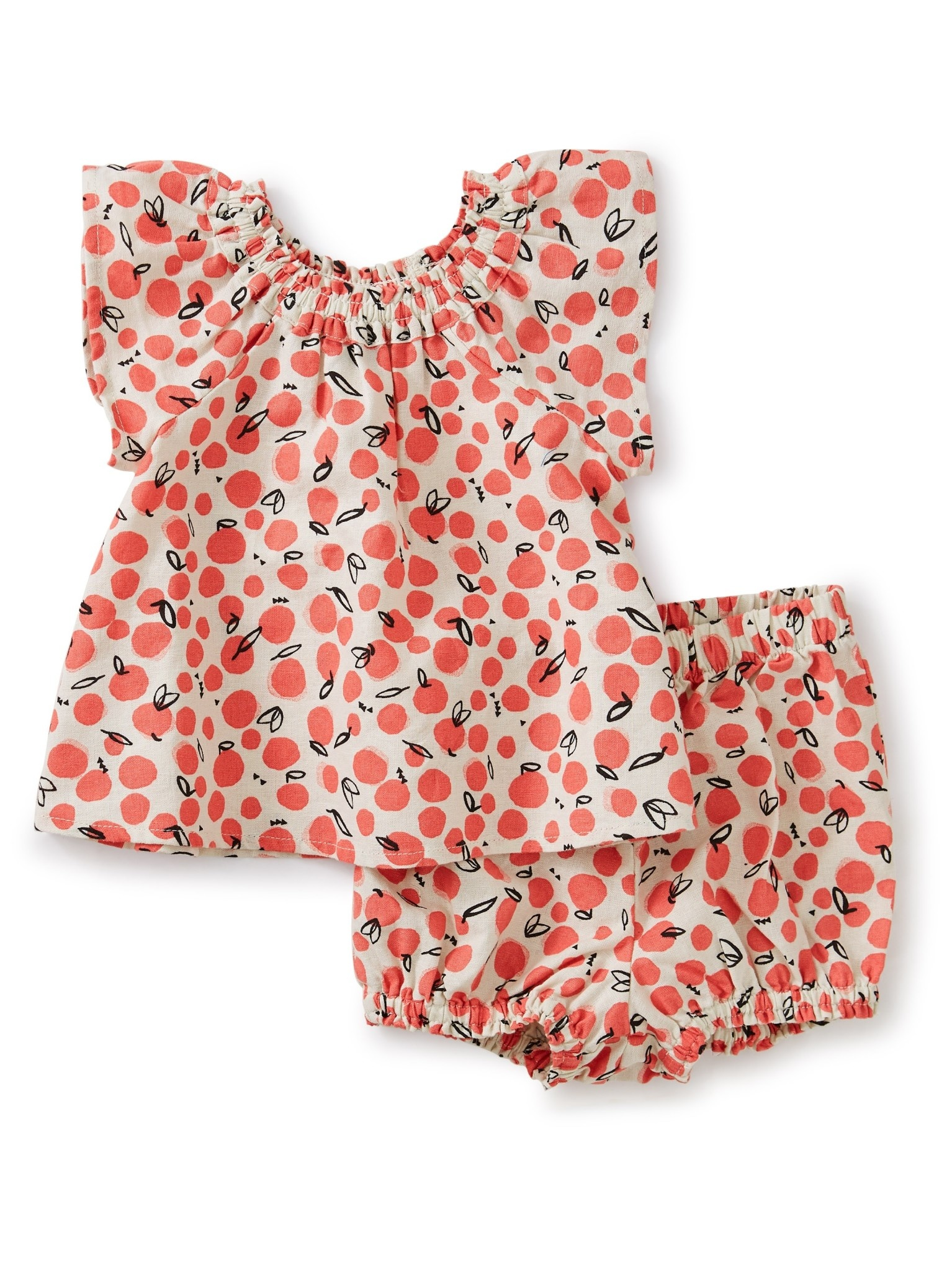 Tea Collection Oasis Fruit Ruffle Neck Baby Set