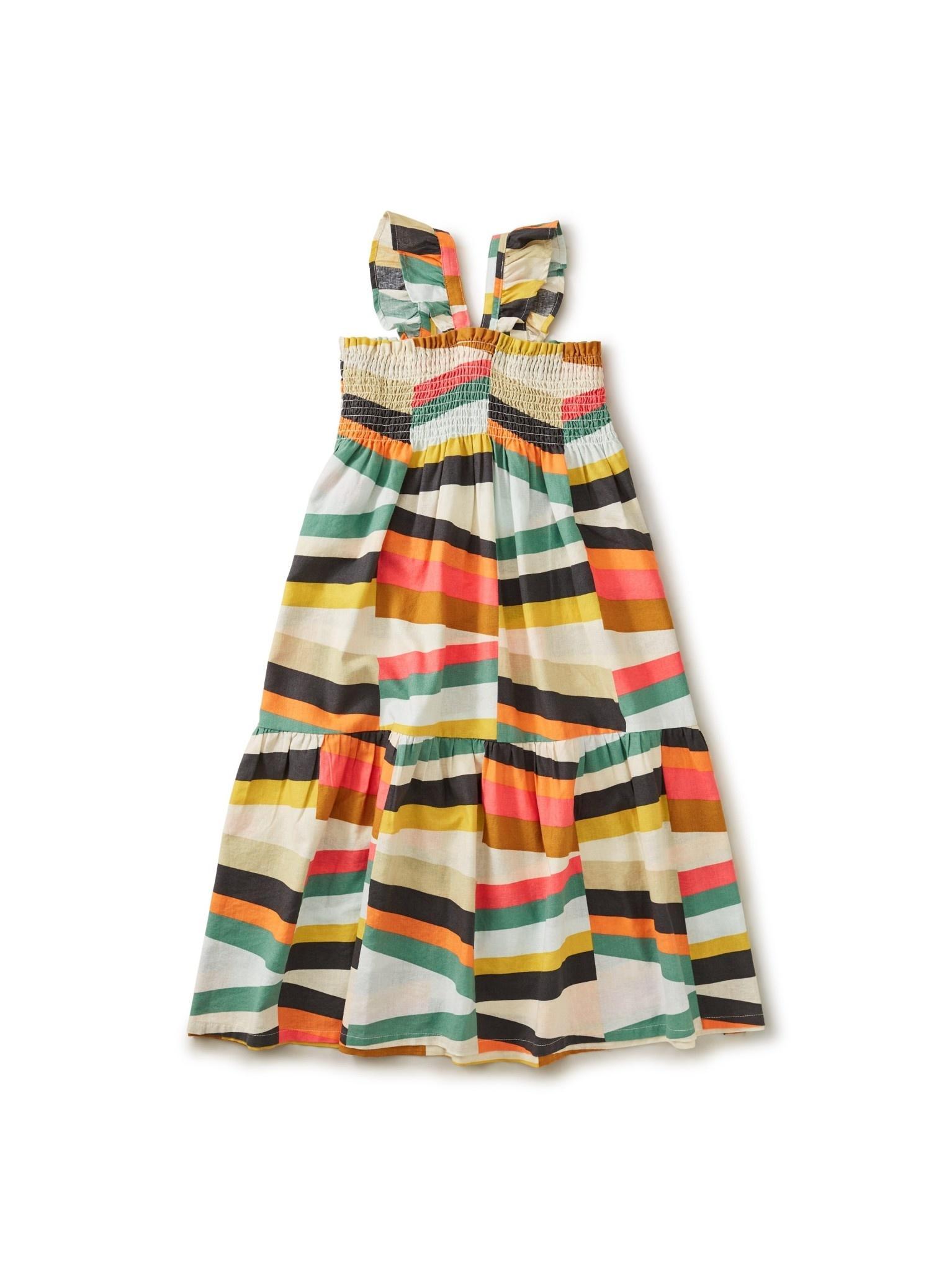 Tea Collection Rug Chevron Ruffle Strap Midi Dress