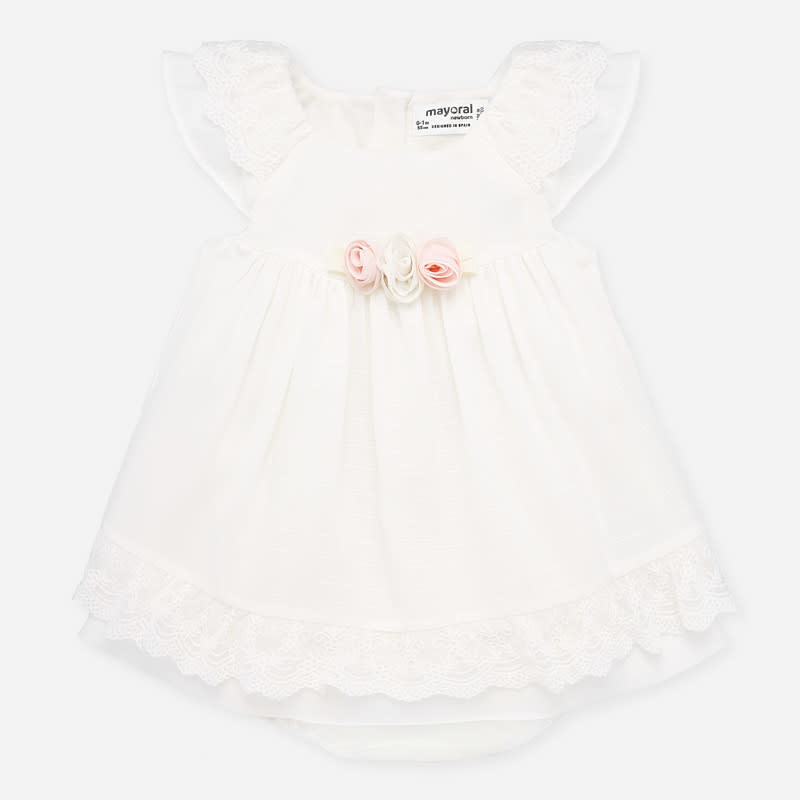 Mayoral White Lace Trim Dress
