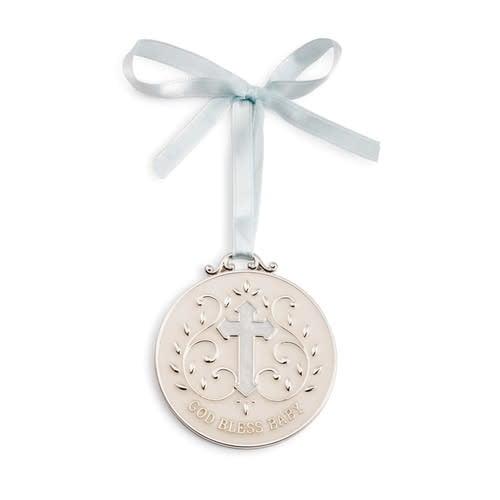 demdaco Blue God Bless Baby Medallion