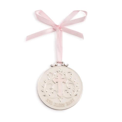 demdaco Pink God Bless Baby Medallion