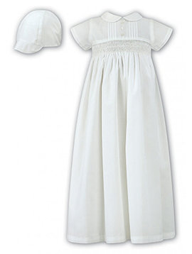 Sarah Louise Smocked Cotton Christening Gown