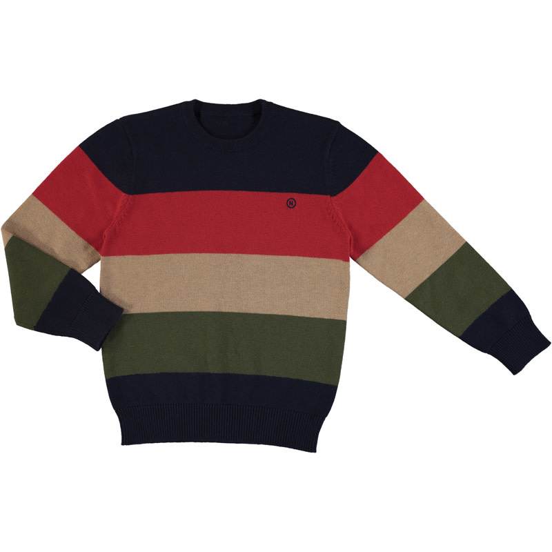 Mayoral Green/Brown Stripe Sweater
