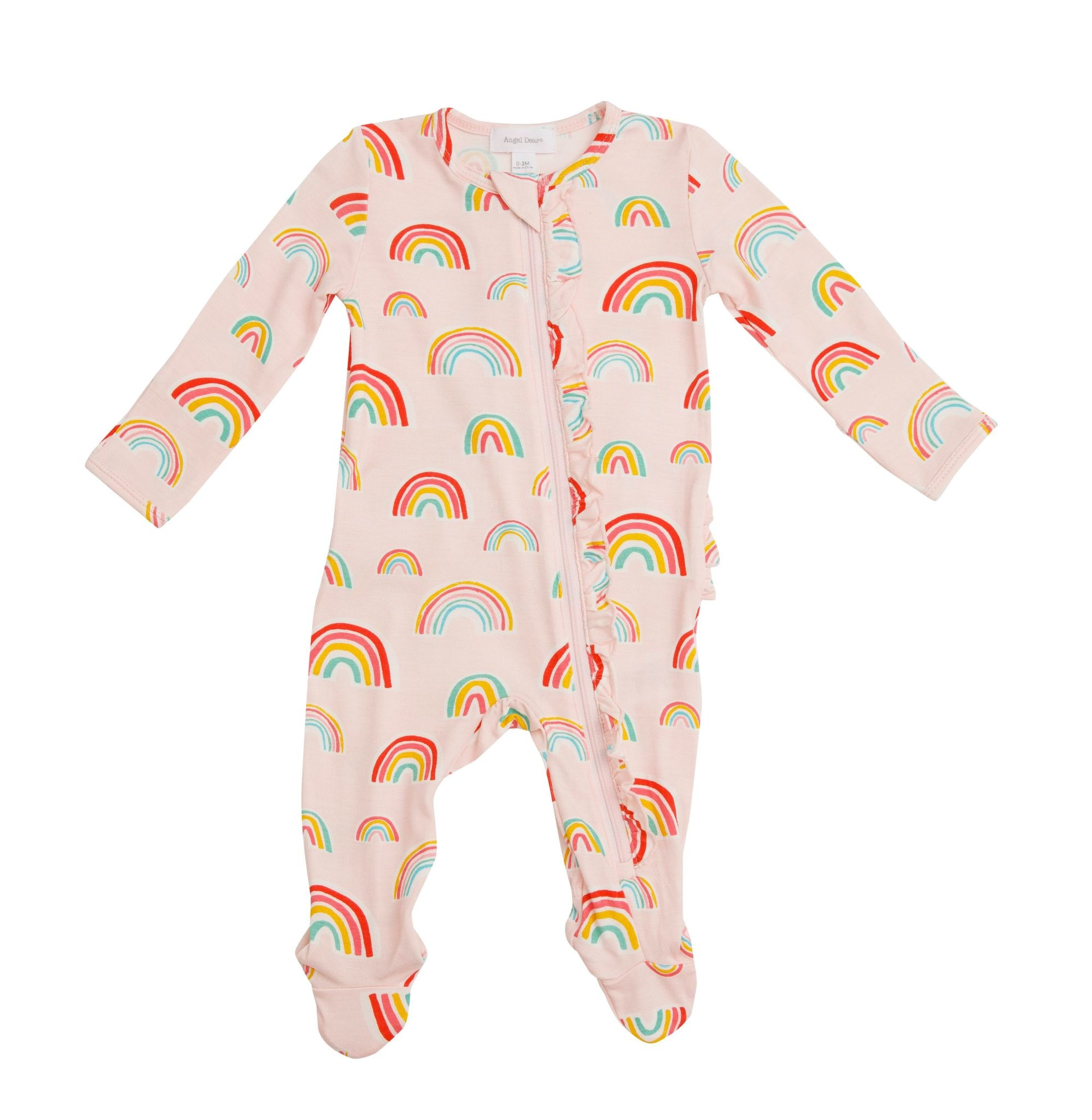 Angel Dear Rainbows Ruffle Front Zipper Footie