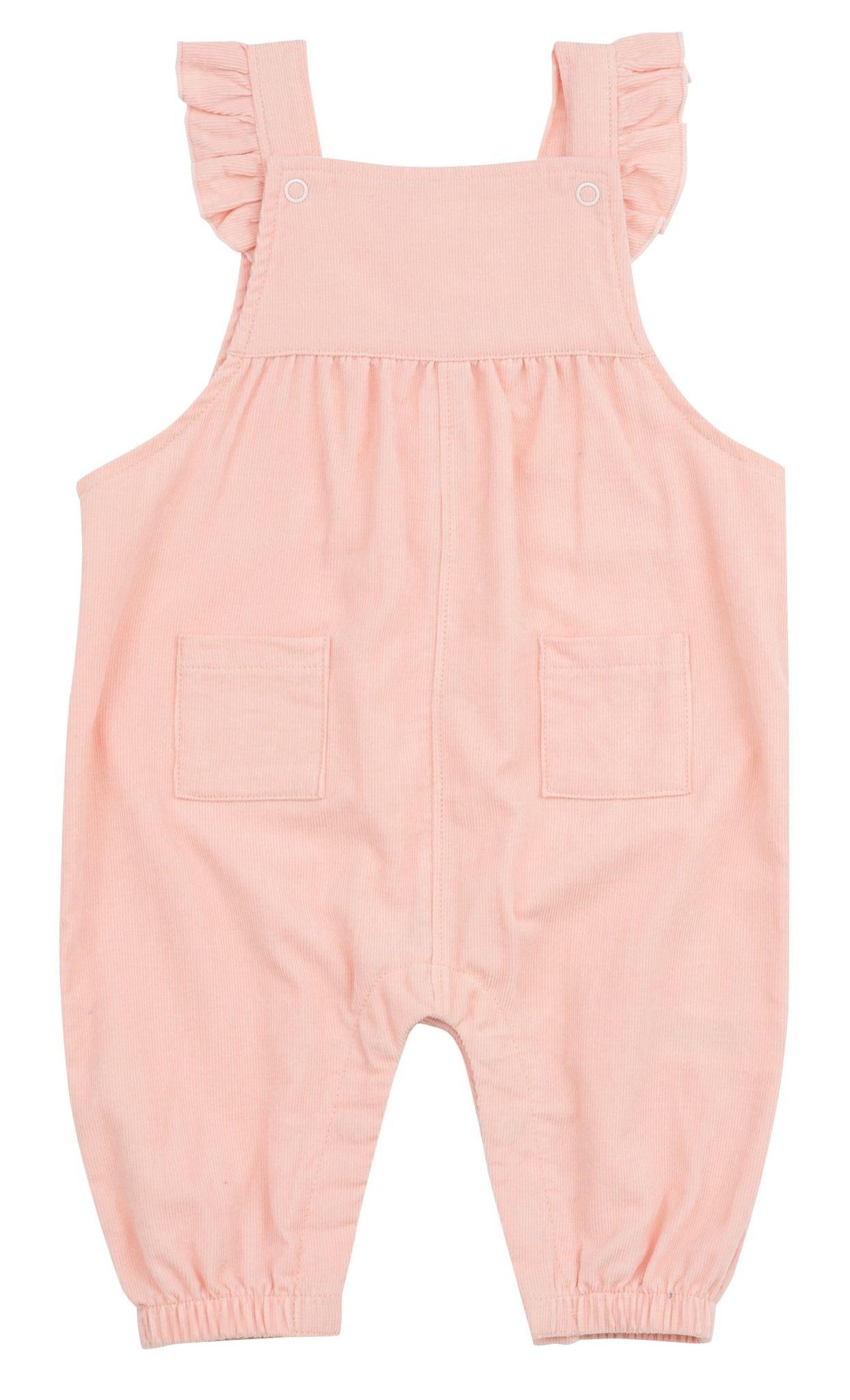 Angel Dear Pink Cord Ruffle Overalls