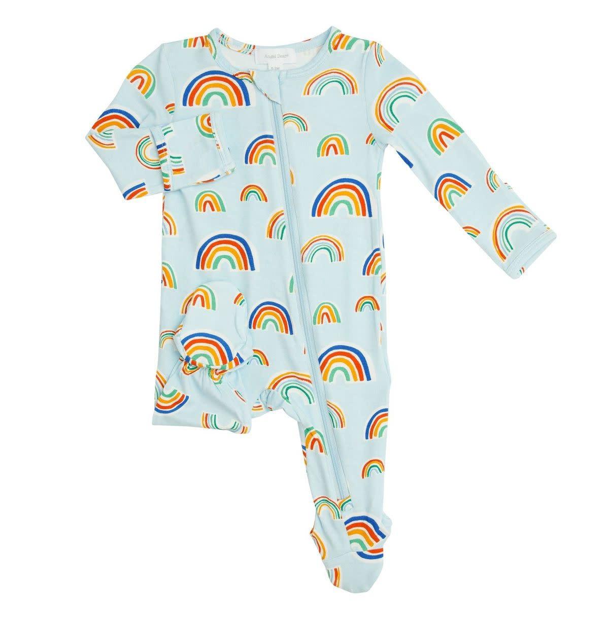 Angel Dear Blue Rainbows Zipper Footie