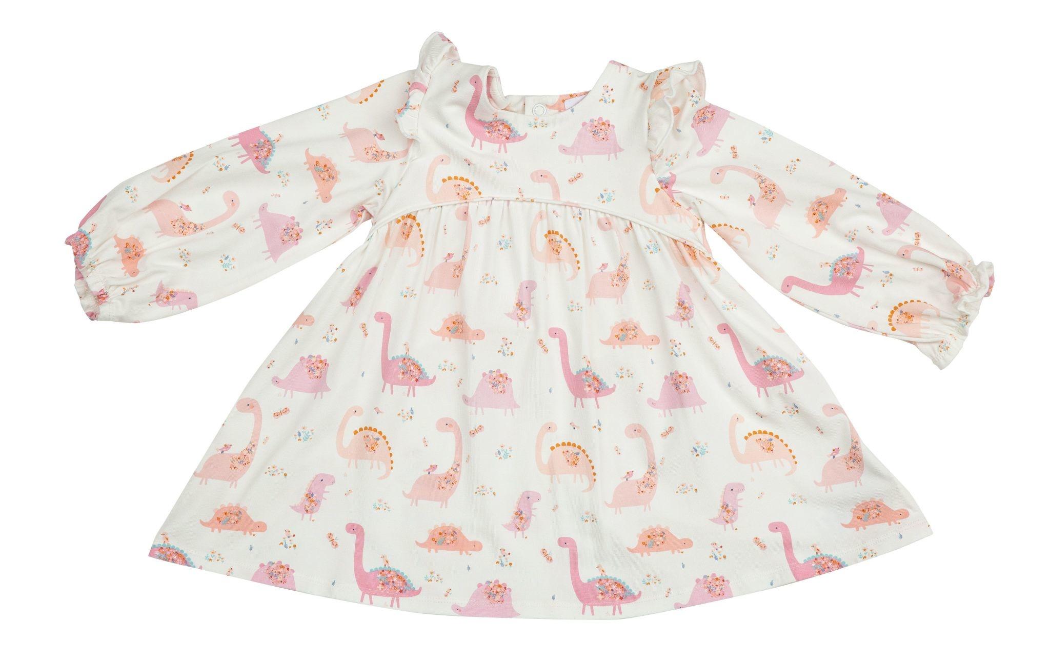 Angel Dear Pink Floral Dino Ruffle Dress