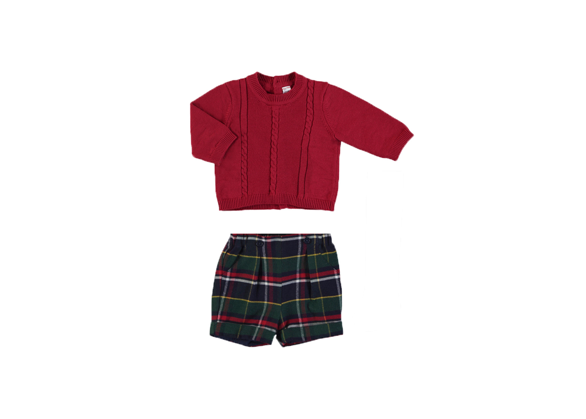 Mayoral Plaid/Red Sweater Set