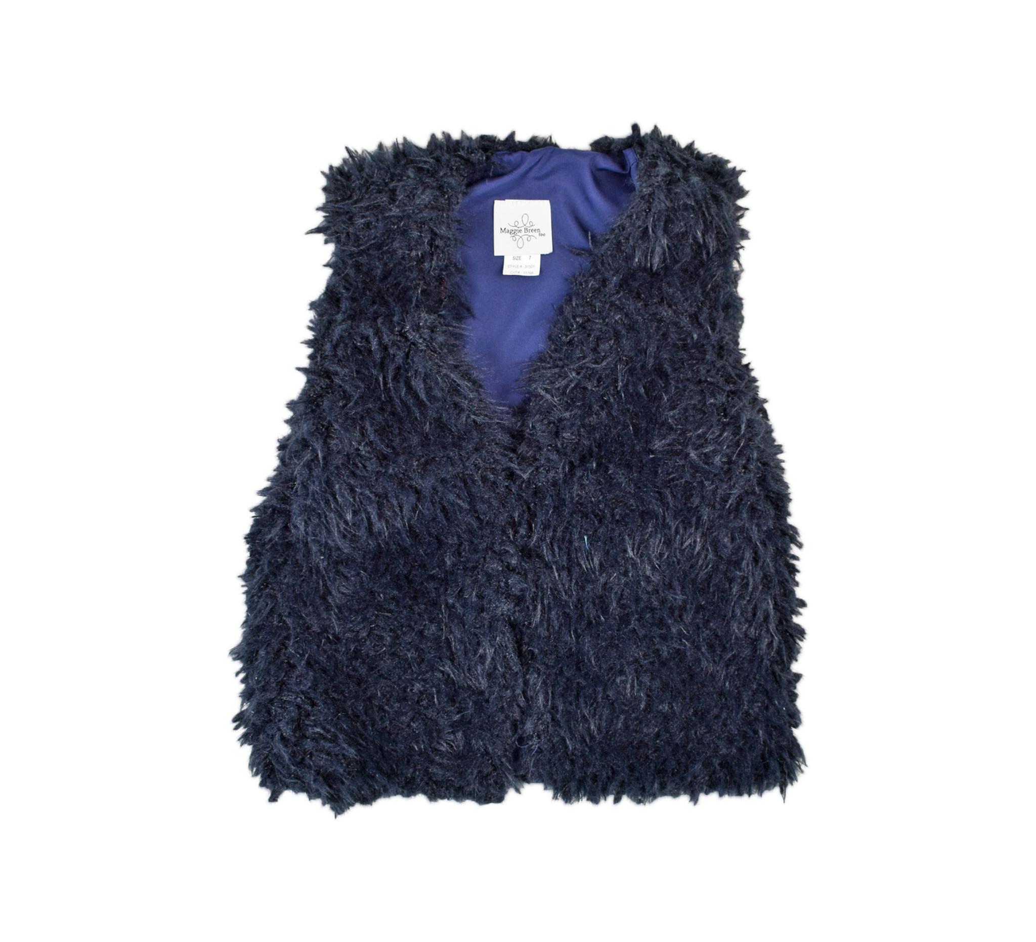 Maggie Breen Navy Furry Vest