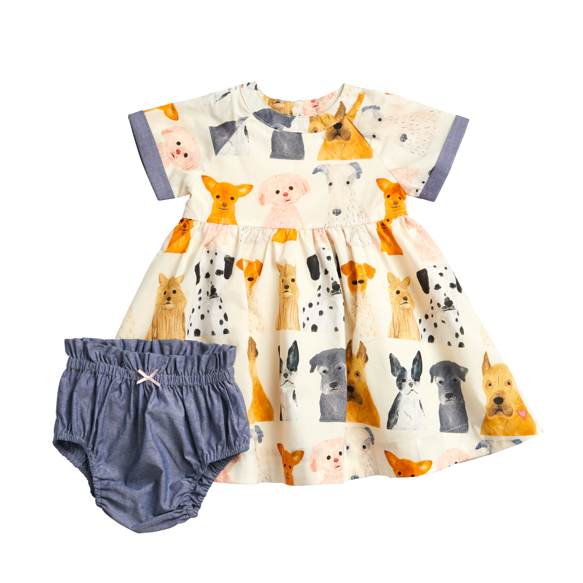 Pink Chicken Watercolor Dogs Olive Dress Set