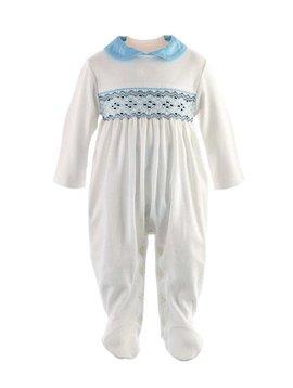 Rachel Riley Blue Smocked Babygro