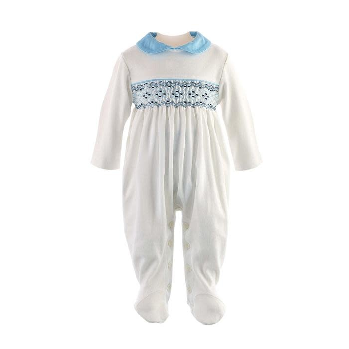 Rachel Riley Blue Smocked Babygro
