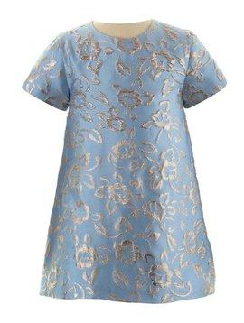 Rachel Riley Blue/Gold Sparkle Damask Dress