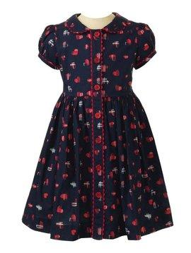 Rachel Riley Tartan Heart Button Front Dress