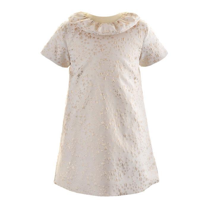 Rachel Riley Gold Star Damask Dress
