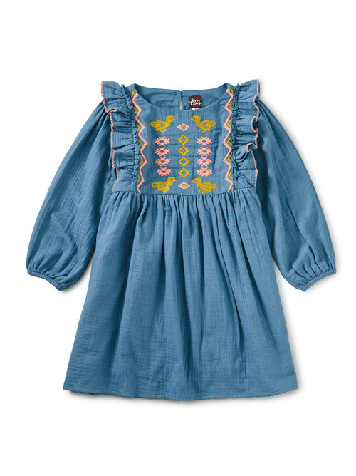 Tea Collection Aegean Blue Embroidered Ruffle Dress