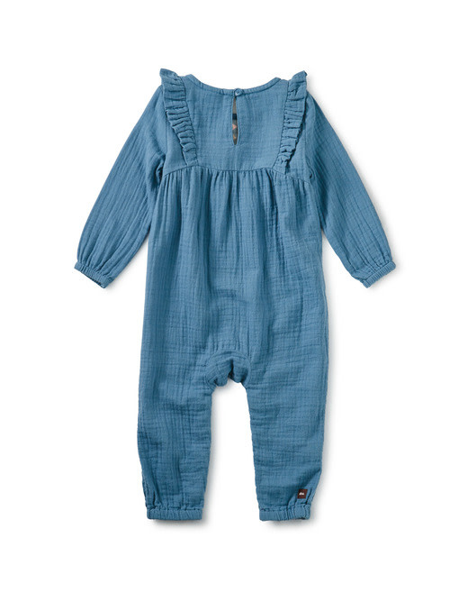 Tea Collection Aegean Blue Embroidered Ruffle Romper