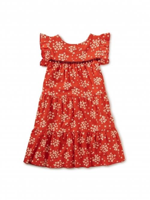 Tea Collection Scarlet Tassel Trim Tiered Dress