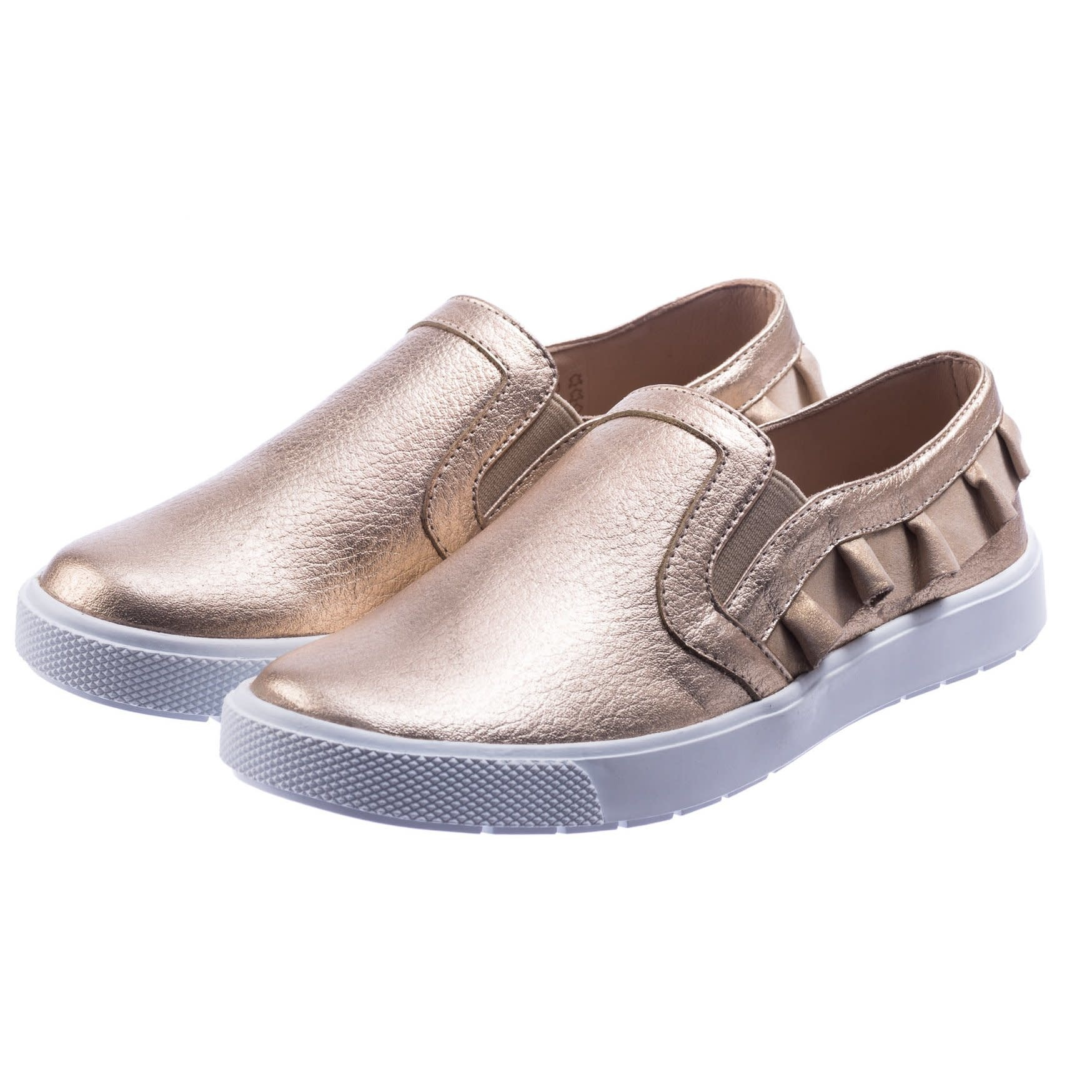 Elephantito Gold Ruffled Slip-On Sneaker