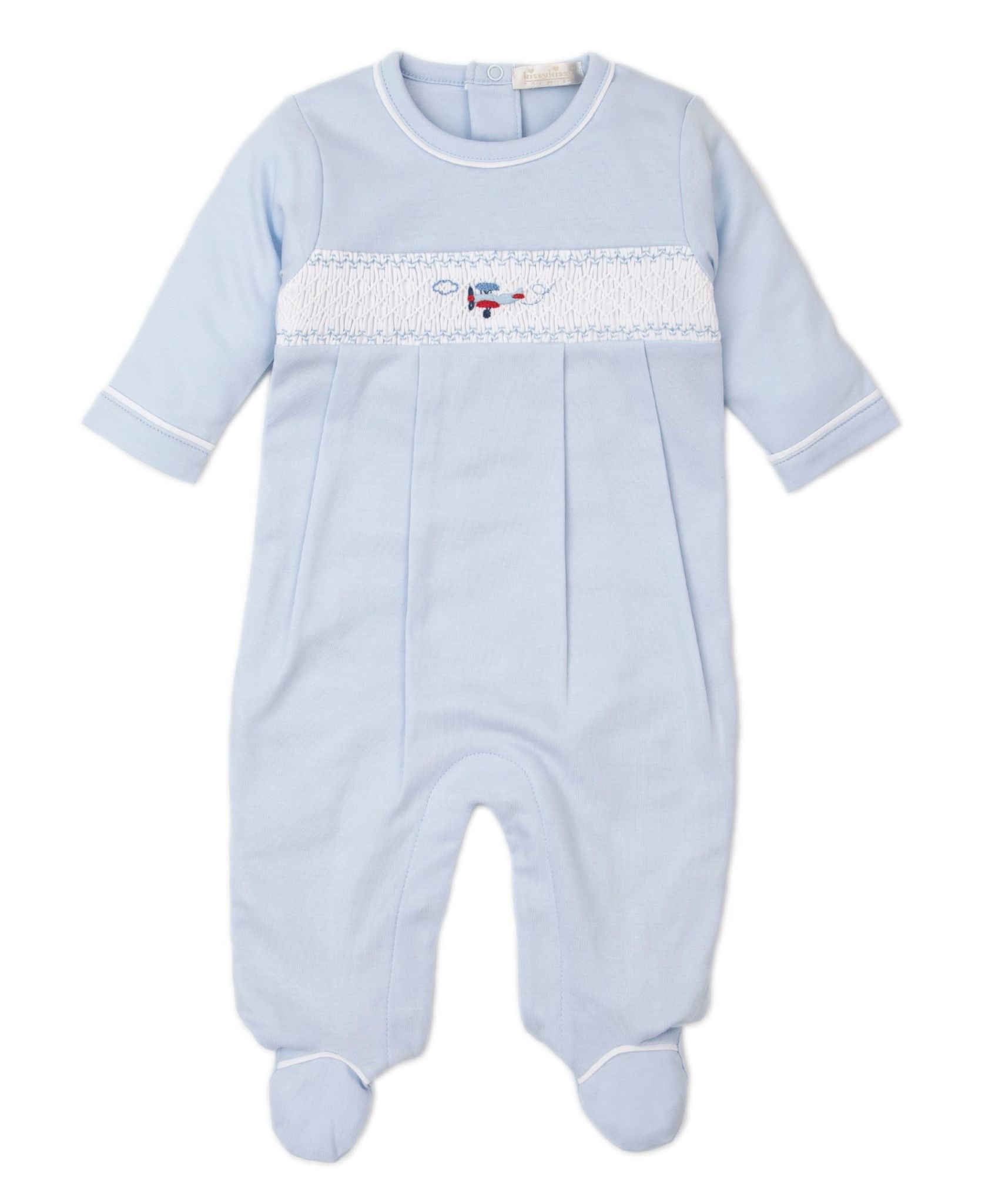Kissy Kissy Embroidered Plane Footie