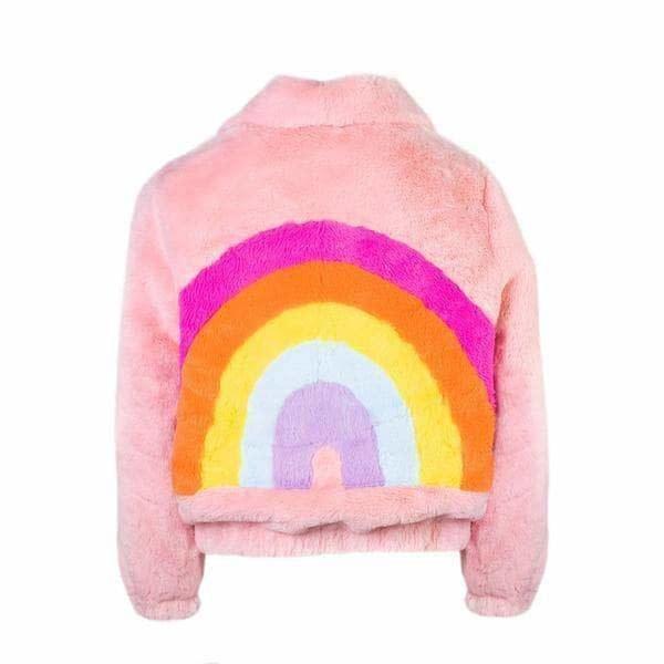 Lola & the Boys Rainbow Faux Fur Coat