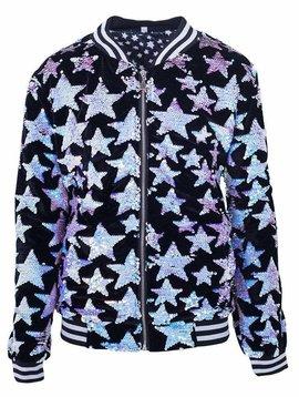 Lola & the Boys Starry Night Velvet Bomber