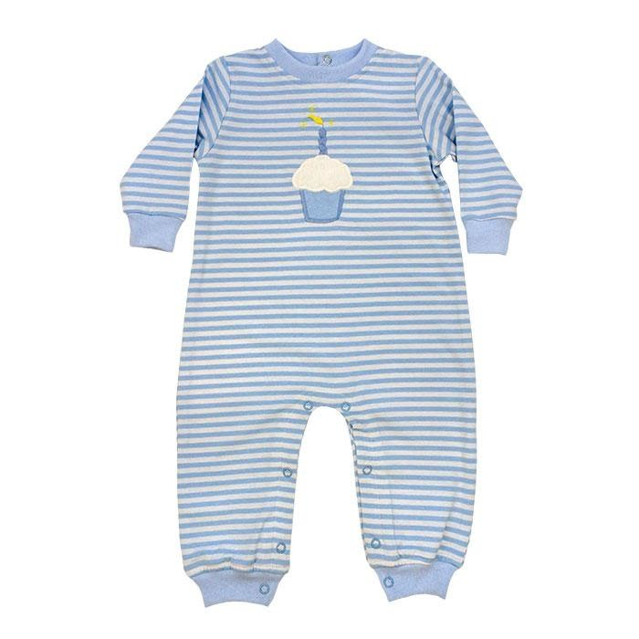 Bailey Boys Blue Stripe Cupcake Romper
