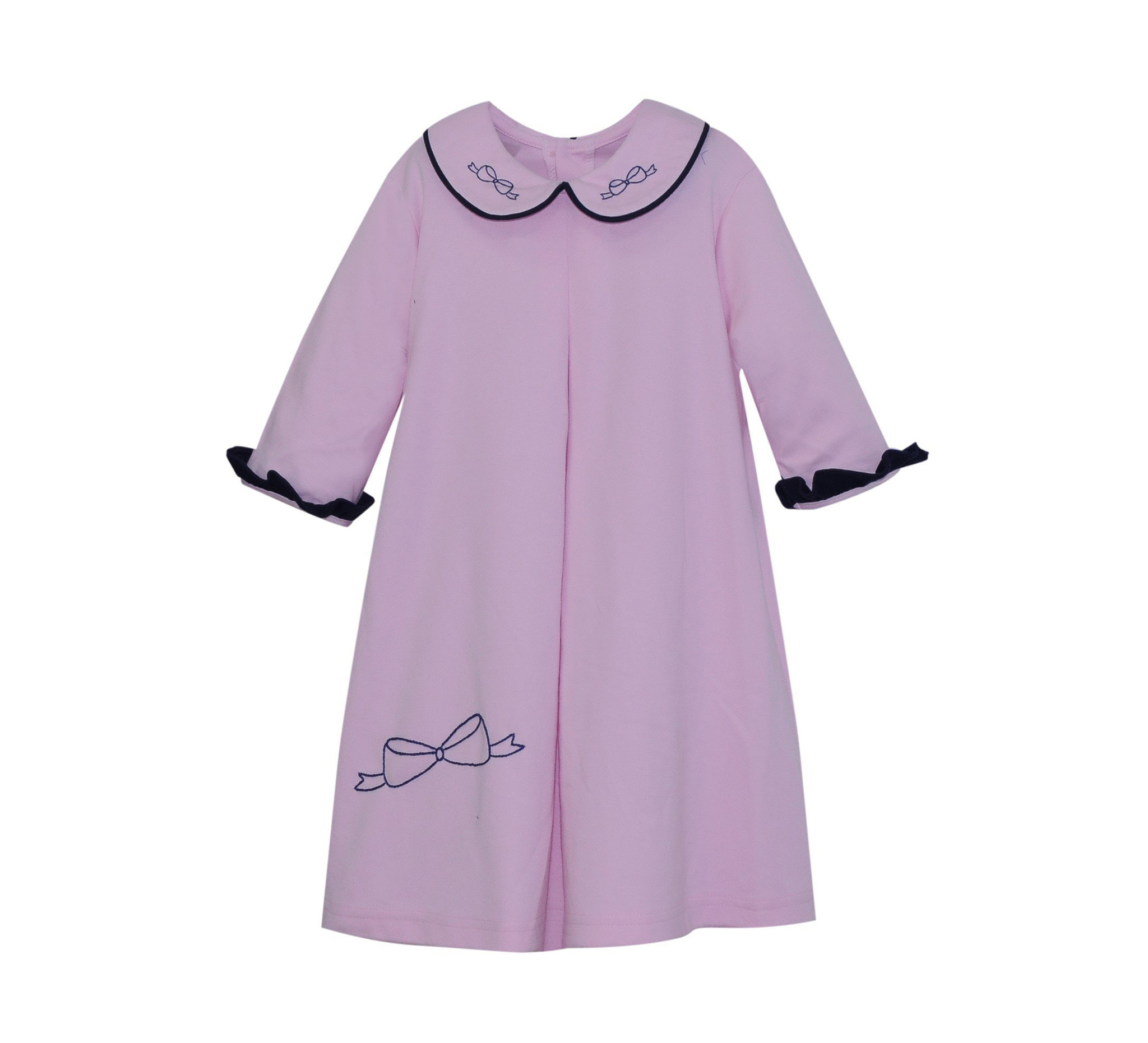 Lullaby Set Pink/Navy Bow Embroidered Dress