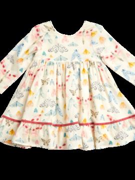 Pink Chicken Watercolor Moths Coralee Dress