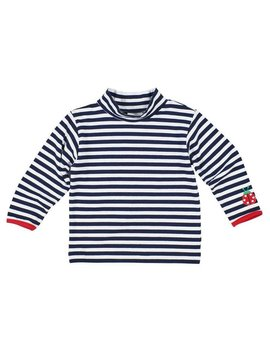 Florence Eiseman Navy Stripe Knit Shirt with Ladybug