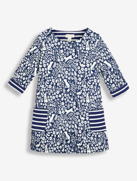 JoJo Maman Bebe Navy Woodland A-Line Dress