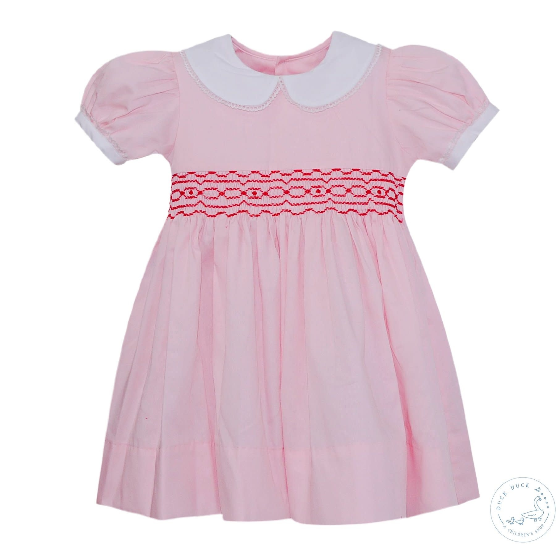 Lullaby Set Pink/Red Smocked Memory Dress