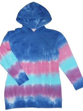 Candy Pink Marine Stripe Tie Dye Hoodie Dress
