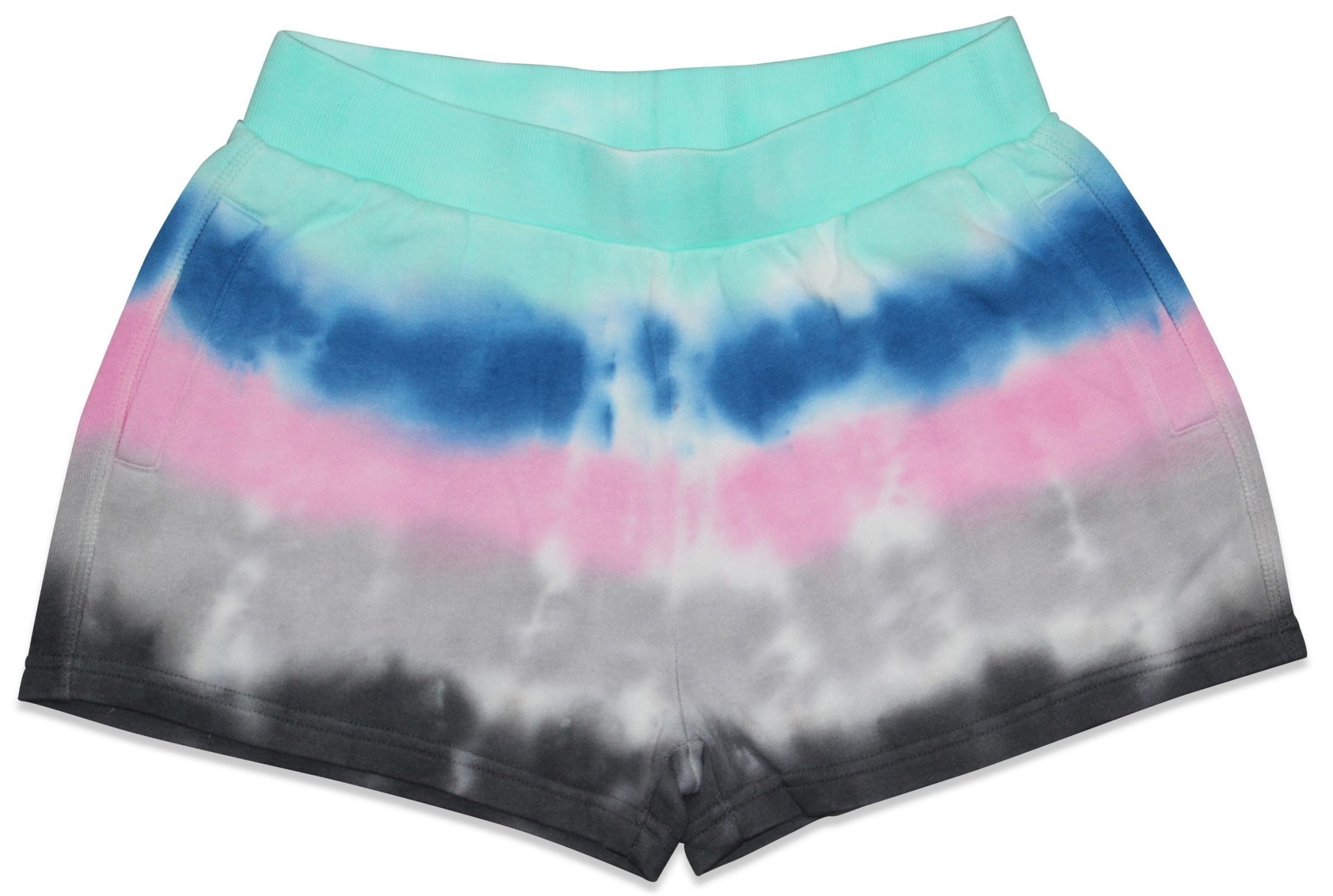 Candy Pink Aqua Stripes Tie Dye Shorts