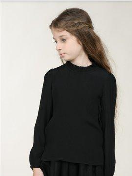 Mini Molly Black Shirred Collar Blouse