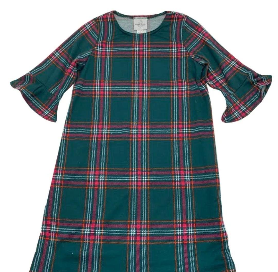 Maggie Breen Pink Green Plaid Knit Dress
