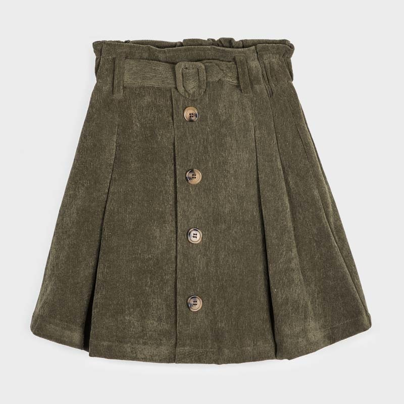 Mayoral Green Cord Belted Skirt