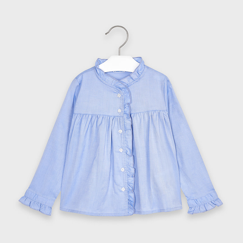 Mayoral Blue Ruffled Shirt
