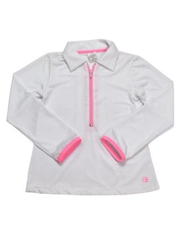 Set Fashions White/Pink Heather Half Zip Pullover