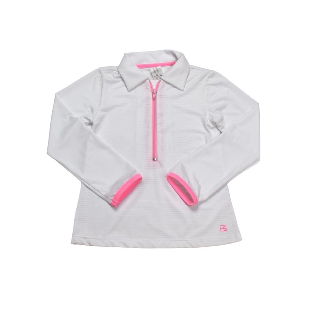Set Fashions White/Pink Heather Half Zip Pullover