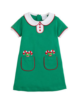 Little English Candy Cane Applique Dress