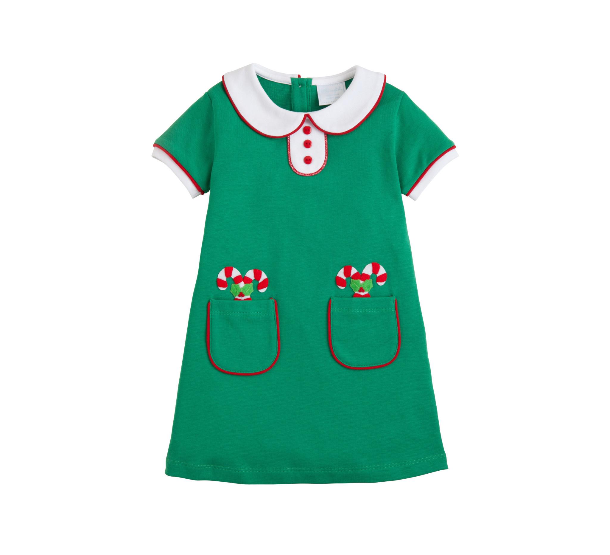 Little English Candy Cane Applique Dress