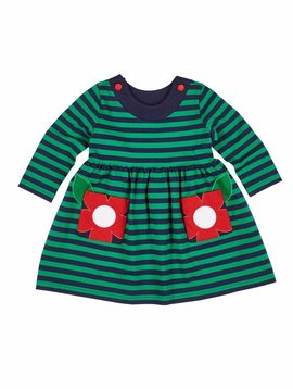 Florence Eiseman Flower Pocket Green/Navy Stripe Dress