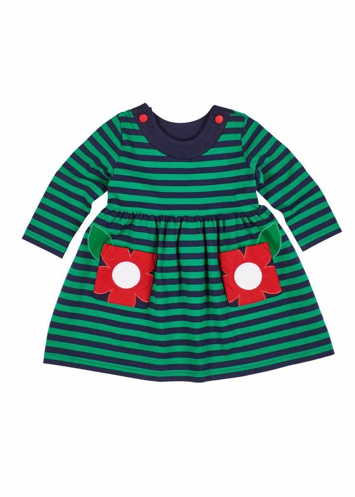 Florence Eiseman Flower Pocket Green/Navy Stripe Dress