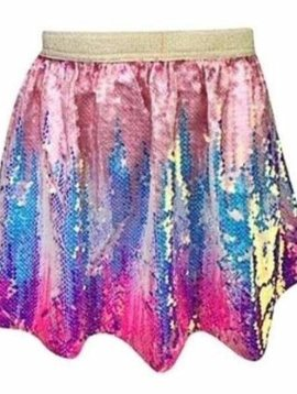 Lola & the Boys Bubble Gum Ombre Sequin Skirt